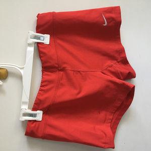 Red Nike running, workout, spandex, shorts